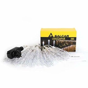Salcar Kaltweiß LED Eiszapfen, 40er LED Eiszapfenkette Kette 5m LED Lichterkette + 5m Stromkabel (insgesamt 10 m lang), Weihnachtsbeleuchtung Deko für Innen Aussen 9 Modi Trafo - 6