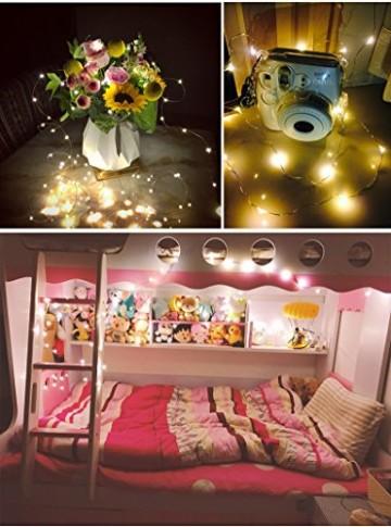 Salcar LED Lichterkette 10 Meter/33Ft 100 Dioden Innen Außen Micro Kupfer Draht für Weihnachten Deko Party Festen, wasserdicht, USB-Anschluss (Warmweiß) - 2