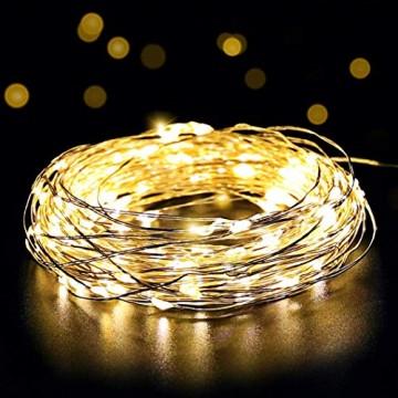 Salcar LED Lichterkette 10 Meter/33Ft 100 Dioden Innen Außen Micro Kupfer Draht für Weihnachten Deko Party Festen, wasserdicht, USB-Anschluss (Warmweiß) - 1