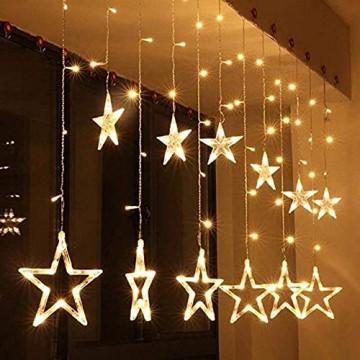 Salcar - LED Lichterkette mit LED Kugel 12 Sterne 138 Leuchtioden Lichtervorhang Sternenvorhang 8 Modi Innen & Außenlichterkette dekoration für Weihnachten Deko Party Festen - Warmweiß - 2