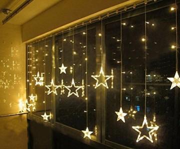 Salcar - LED Lichterkette mit LED Kugel 12 Sterne 138 Leuchtioden Lichtervorhang Sternenvorhang 8 Modi Innen & Außenlichterkette dekoration für Weihnachten Deko Party Festen - Warmweiß - 4