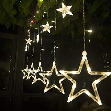 Salcar - LED Lichterkette mit LED Kugel 12 Sterne 138 Leuchtioden Lichtervorhang Sternenvorhang 8 Modi Innen & Außenlichterkette dekoration für Weihnachten Deko Party Festen - Warmweiß - 1