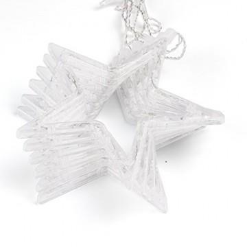 Salcar - LED Lichterkette mit LED Kugel 12 Sterne 138 Leuchtioden Lichtervorhang Sternenvorhang 8 Modi Innen & Außenlichterkette dekoration für Weihnachten Deko Party Festen - Warmweiß - 5