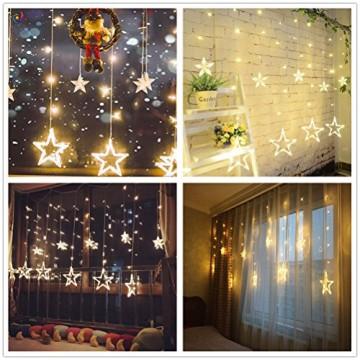 Salcar - LED Lichterkette mit LED Kugel 12 Sterne 138 Leuchtioden Lichtervorhang Sternenvorhang 8 Modi Innen & Außenlichterkette dekoration für Weihnachten Deko Party Festen - Warmweiß - 6