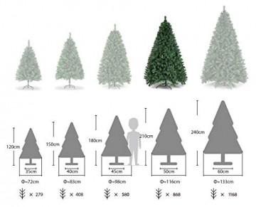 SALCAR Weihnachtsbaum künstlich 210 cm mit 868 Spitzen, Tannenbaum künstlich regenschirmsystem inkl. Christbaum-Ständer, Weihnachtsdeko - grün 2,1 m - 3