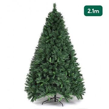 SALCAR Weihnachtsbaum künstlich 210 cm mit 868 Spitzen, Tannenbaum künstlich regenschirmsystem inkl. Christbaum-Ständer, Weihnachtsdeko - grün 2,1 m - 1