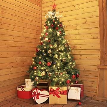 SALCAR Weihnachtsbaum künstlich 210 cm mit 868 Spitzen, Tannenbaum künstlich regenschirmsystem inkl. Christbaum-Ständer, Weihnachtsdeko - grün 2,1 m - 6