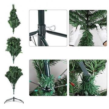 SALCAR Weihnachtsbaum künstlich 210 cm mit 868 Spitzen, Tannenbaum künstlich regenschirmsystem inkl. Christbaum-Ständer, Weihnachtsdeko - grün 2,1 m - 7