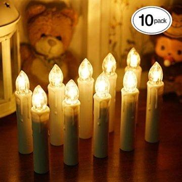 Samoleus 10 Stück Weihnachtskerzen Lichterkette, Weihnachts Kerzen Kabellos mit Fernbedienung, Wasserdichte Christbaumkerzen LED Kerzenlichter Kabellos für Weihnachtsbaum Hochzeit (Warmweiß - 10er) - 1