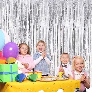 sancuanyi (1m x 2.5m) 4 Stück Lametta Vorhänge Dekoration Folie Vorhang Glitzer Deko Glänzende Fransenvorhang Fransen für Hochzeit Disco Geburtstagsdekoration DIY Party Favor Dekorationen (Silber) - 6