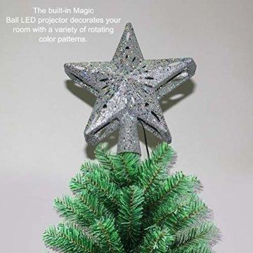 Schimer Baumspitze, Metall Plastik Weihnachtsbaumspitze mit Stern, LEDs beleuchtete Christbaumspitze mit rotierendem magischem kühlem weißem Schneeflocke-Projektor - 2