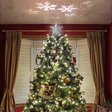 Schimer Baumspitze, Metall Plastik Weihnachtsbaumspitze mit Stern, LEDs beleuchtete Christbaumspitze mit rotierendem magischem kühlem weißem Schneeflocke-Projektor - 3