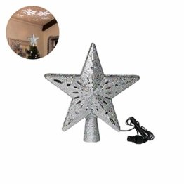 Schimer Baumspitze, Metall Plastik Weihnachtsbaumspitze mit Stern, LEDs beleuchtete Christbaumspitze mit rotierendem magischem kühlem weißem Schneeflocke-Projektor - 1