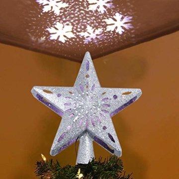Schimer Baumspitze, Metall Plastik Weihnachtsbaumspitze mit Stern, LEDs beleuchtete Christbaumspitze mit rotierendem magischem kühlem weißem Schneeflocke-Projektor - 8