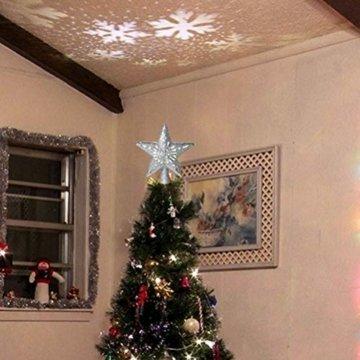 Schimer Baumspitze, Metall Plastik Weihnachtsbaumspitze mit Stern, LEDs beleuchtete Christbaumspitze mit rotierendem magischem kühlem weißem Schneeflocke-Projektor - 9