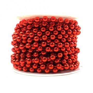 Sepkina Perlenband Christbaumkette Christbaum Perlenkette Perlengirlande Perlenschnur Weihnachten Advent Hochzeit Deko Tischdeko Meterware rot (S-P10-04-red) (0,80€/m) - 2