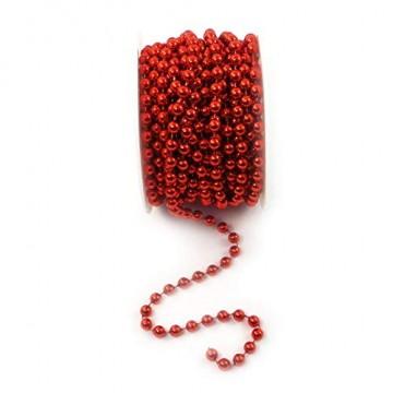 Sepkina Perlenband Christbaumkette Christbaum Perlenkette Perlengirlande Perlenschnur Weihnachten Advent Hochzeit Deko Tischdeko Meterware rot (S-P10-04-red) (0,80€/m) - 3