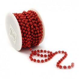 Sepkina Perlenband Christbaumkette Christbaum Perlenkette Perlengirlande Perlenschnur Weihnachten Advent Hochzeit Deko Tischdeko Meterware rot (S-P10-04-red) (0,80€/m) - 1