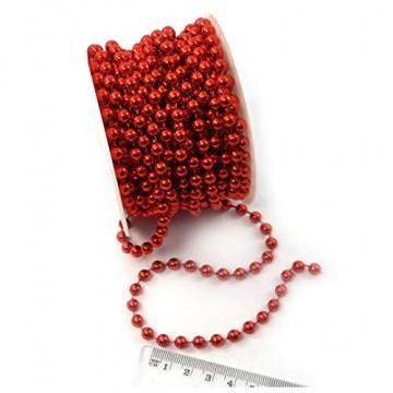Sepkina Perlenband Christbaumkette Christbaum Perlenkette Perlengirlande Perlenschnur Weihnachten Advent Hochzeit Deko Tischdeko Meterware rot (S-P10-04-red) (0,80€/m) - 4