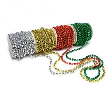 Sepkina Perlenband Christbaumkette Christbaum Perlenkette Perlengirlande Perlenschnur Weihnachten Advent Hochzeit Deko Tischdeko Meterware rot (S-P10-04-red) (0,80€/m) - 5
