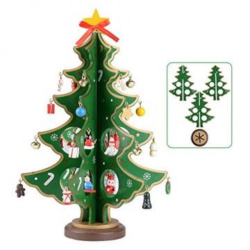 SERWOO (H: 28cm) Weihnachtsbaum Tannenbaum Klein mit Anhänger Grün Weihnachten Deko Holz Deko Klein Tischdeko Weihnachtsdeko Geschenke DIY Basteln - 1