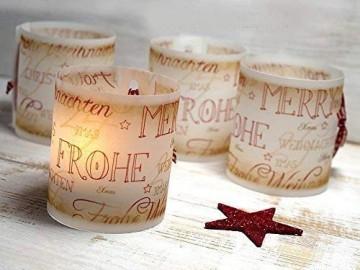 Set 6 x Lichthülle für Tischlicht mit Karoband Advent Weihnachten handmade vintage look - 1