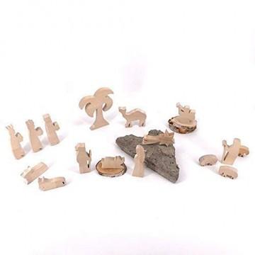 Set Krippenfiguren II Palme - handgefertigte Krippenfiguren aus Holz - Weihnachtsgeschenk, Nikolaus - 2
