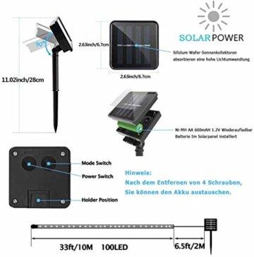 ShinePick Solar Lichterkette Aussen, 12M 100 LED Solar Lichtschlauch, Automatisch An/Ausschalten Wasserdicht Solarlichterkette Außenlichterkette Weihnachtsbeleuchtung für Garten Aussen Deko(Warmweiß) - 2