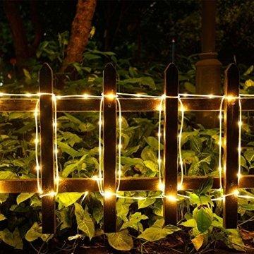 ShinePick Solar Lichterkette Aussen, 12M 100 LED Solar Lichtschlauch, Automatisch An/Ausschalten Wasserdicht Solarlichterkette Außenlichterkette Weihnachtsbeleuchtung für Garten Aussen Deko(Warmweiß) - 6
