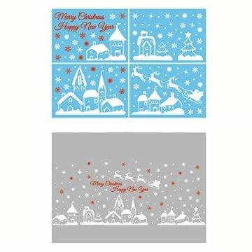 ShiyiUP Weihnachten Fensterkleber Wandsticker Fensterbild Aufkleber Wandtattoo Dekoration 6 Blatt,Dorf - 2