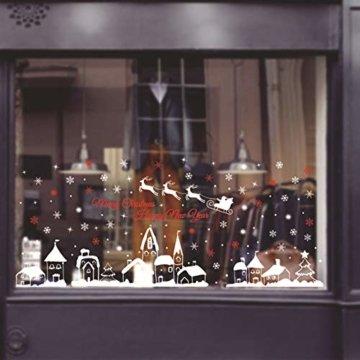 ShiyiUP Weihnachten Fensterkleber Wandsticker Fensterbild Aufkleber Wandtattoo Dekoration 6 Blatt,Dorf - 1