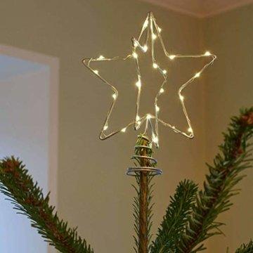 Sirius Weihnachtsbaumspitze Metall 30 LED 15 cm batteriebetrieben silber - 2