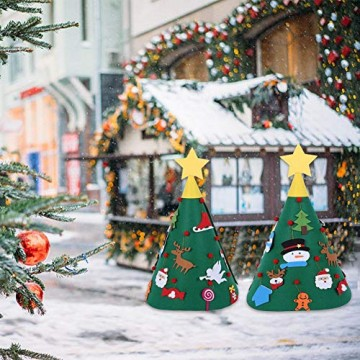 Sliveal Fühlte Weihnachtsbaum dreidimensionale runde Weihnachtsbaum DIY Vlies Weihnachtsbaum Christbaumschmuck - 2