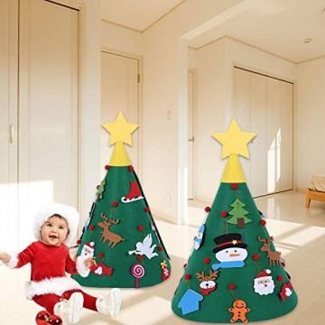 Sliveal Fühlte Weihnachtsbaum dreidimensionale runde Weihnachtsbaum DIY Vlies Weihnachtsbaum Christbaumschmuck - 4