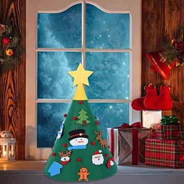 Sliveal Fühlte Weihnachtsbaum dreidimensionale runde Weihnachtsbaum DIY Vlies Weihnachtsbaum Christbaumschmuck - 5