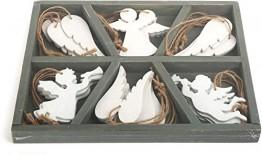small foot Deko-Hänger aus weißem Holz in Engels-Form, in unterteilter Holzbox im Shabby-Chic Look, wunderschöne Weihnachtsdeko für Baum und Fenster Dekoornament, 24 x 19 x 2 cm - 1