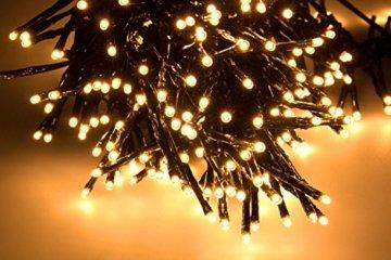 SnowEra 400er LED Galaxy Lichterkette / Weihnachtslichterkette für innen & außen mit Timer und Dimmfunktion – Lichtfarbe: Amber / Bernstein – Form: Cluster Lichterkette - 7