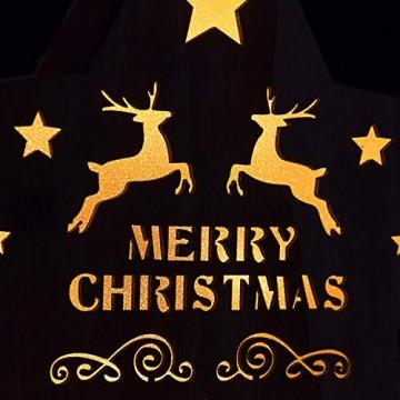 SnowEra LED Dekoleuchte in warmweiß | Holzstern in rot mit 10 LEDs | Weihnachtsbeleuchtung für innen | Stern Durchmesser ca. 25 cm | Weihnachtsdeko aus Holz FSC 100% - 3