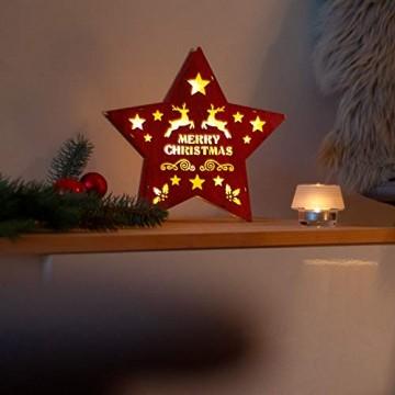 SnowEra LED Dekoleuchte in warmweiß | Holzstern in rot mit 10 LEDs | Weihnachtsbeleuchtung für innen | Stern Durchmesser ca. 25 cm | Weihnachtsdeko aus Holz FSC 100% - 4