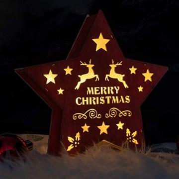 SnowEra LED Dekoleuchte in warmweiß | Holzstern in rot mit 10 LEDs | Weihnachtsbeleuchtung für innen | Stern Durchmesser ca. 25 cm | Weihnachtsdeko aus Holz FSC 100% - 9