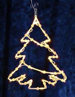 Spetebo LED Fenster Silhouette XXL in 48x42 cm - Tannenbaum - klares, gemütliches Licht - Fensterbild mit Saugnapf und Batterie betrieben mit Dual Timer - 1