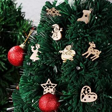 STOBOK 200 Stücke Weihnachtsbaum Anhänger Holzscheiben Christbaumanhänger Holz Streudeko Baumschmuck Christbaumschmuck Weihnachtsdeko zum Aufhängen (Stil gemischt) - 3