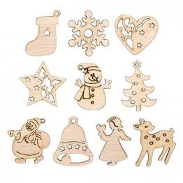 STOBOK 200 Stücke Weihnachtsbaum Anhänger Holzscheiben Christbaumanhänger Holz Streudeko Baumschmuck Christbaumschmuck Weihnachtsdeko zum Aufhängen (Stil gemischt) - 1