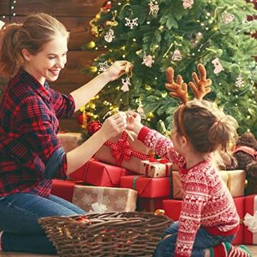 STOBOK 200 Stücke Weihnachtsbaum Anhänger Holzscheiben Christbaumanhänger Holz Streudeko Baumschmuck Christbaumschmuck Weihnachtsdeko zum Aufhängen (Stil gemischt) - 4