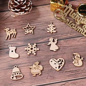 STOBOK 200 Stücke Weihnachtsbaum Anhänger Holzscheiben Christbaumanhänger Holz Streudeko Baumschmuck Christbaumschmuck Weihnachtsdeko zum Aufhängen (Stil gemischt) - 6