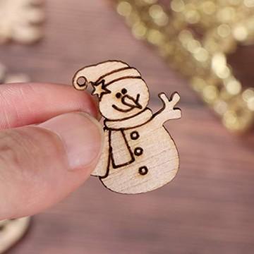 STOBOK 200 Stücke Weihnachtsbaum Anhänger Holzscheiben Christbaumanhänger Holz Streudeko Baumschmuck Christbaumschmuck Weihnachtsdeko zum Aufhängen (Stil gemischt) - 8