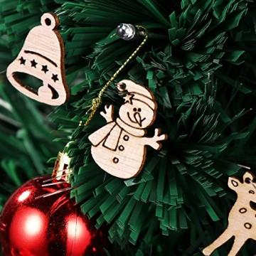 STOBOK 200 Stücke Weihnachtsbaum Anhänger Holzscheiben Christbaumanhänger Holz Streudeko Baumschmuck Christbaumschmuck Weihnachtsdeko zum Aufhängen (Stil gemischt) - 9