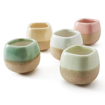 SUN-E 5 in Set 5.6 cm Gefäß Übertopf Keramik Fließlasur 5-Farben-Basisserie Set Sukkulenten Topf Kaktus Blumentopf Perfekte Geschenkidee - 2