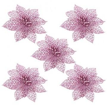 SuperSU 5 Stück PVC Kunstblumen Christbaumschmuck, künstliche Weihnachtsblumen, Weihnachtsschmuck, Unechte Blumen für Hausgarten Zeremonie Hochzeit Blumendekor - 2