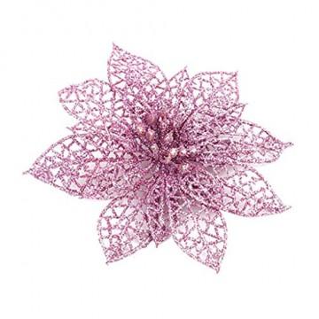 SuperSU 5 Stück PVC Kunstblumen Christbaumschmuck, künstliche Weihnachtsblumen, Weihnachtsschmuck, Unechte Blumen für Hausgarten Zeremonie Hochzeit Blumendekor - 1